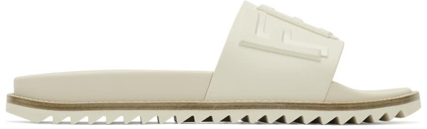 Fendi White Rubber Slides