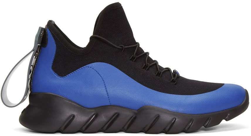 Image of Fendi Black and Blue fendi Vocabulary Running Sneakers