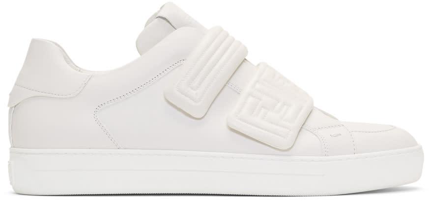 Fendi White Embossed Logo Sneakers