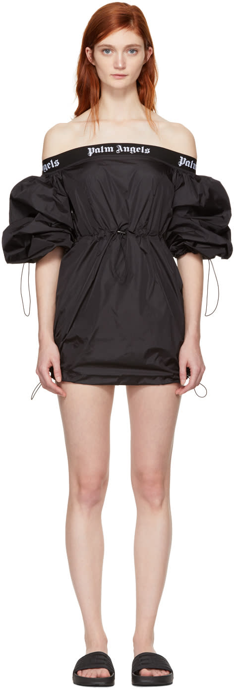 Image of Palm Angels Black Balloon Off-the-shoulder Dress