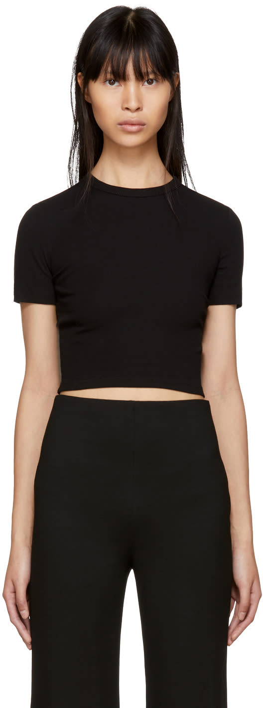 Image of Rosetta Getty Black Cropped T-shirt