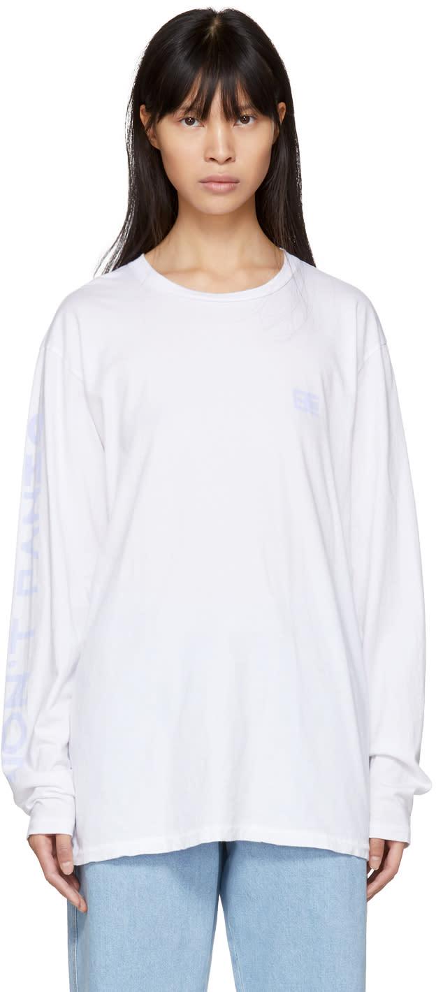 Baja East T-shirt à Manches Longues Blanc dont Panic
