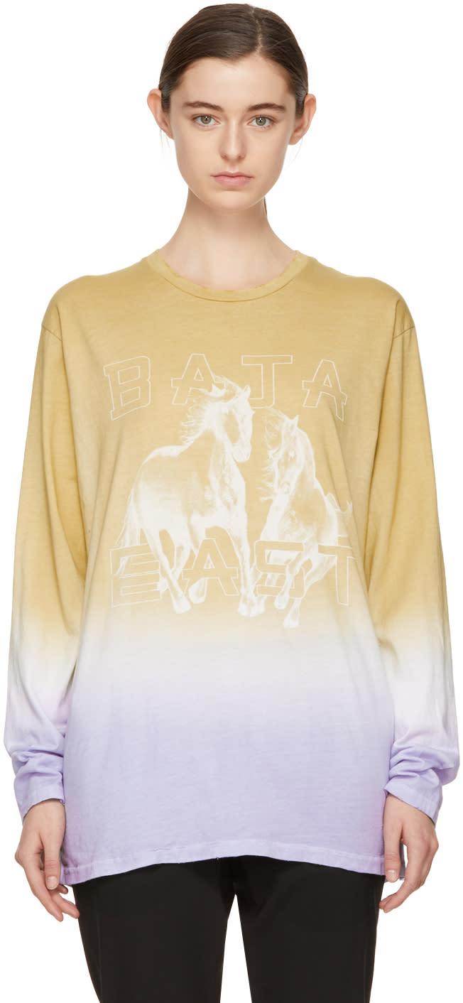 Baja East T-shirt à Manches Longues Brun Clair Et Mauve Freedom