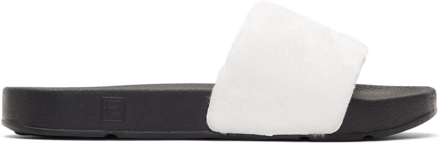 Baja East White and Black Fila Edition Shearling Drifter Slides