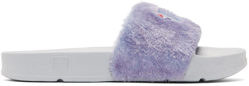Baja East Purple and Grey Fila Edition Shearling Drifter Slides