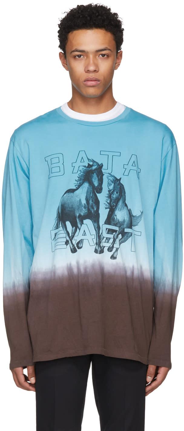 Baja East T-shirt à Manches Longues Bleu Freedom