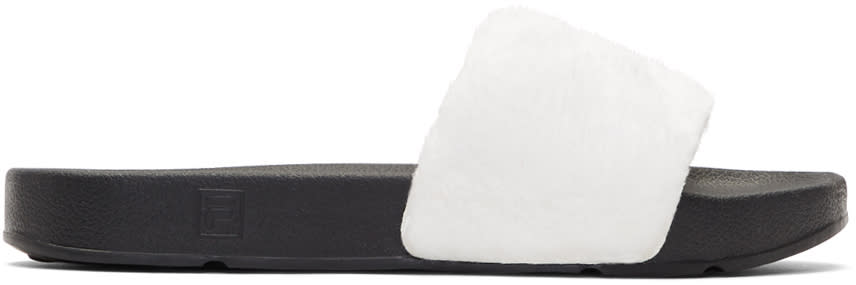 Baja East White Fila Edition Shearling Drifter Slides
