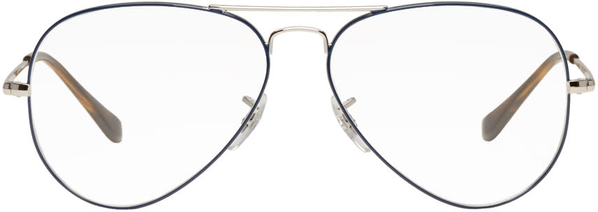 Image of Ray-ban Black and Silver Icons Aviator Glasses