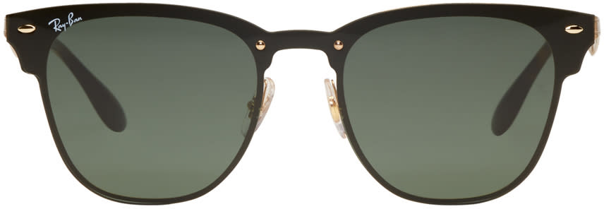 Image of Ray-ban Black and Gold Blaze Clubmaster Sunglasses