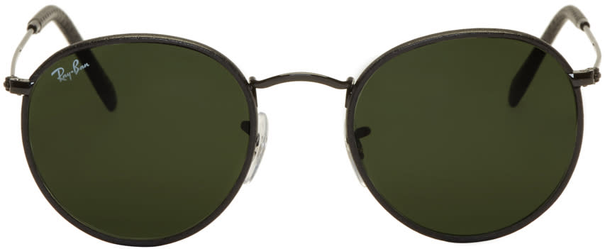 Image of Ray-ban Black Leather Craft Icons Sunglasses