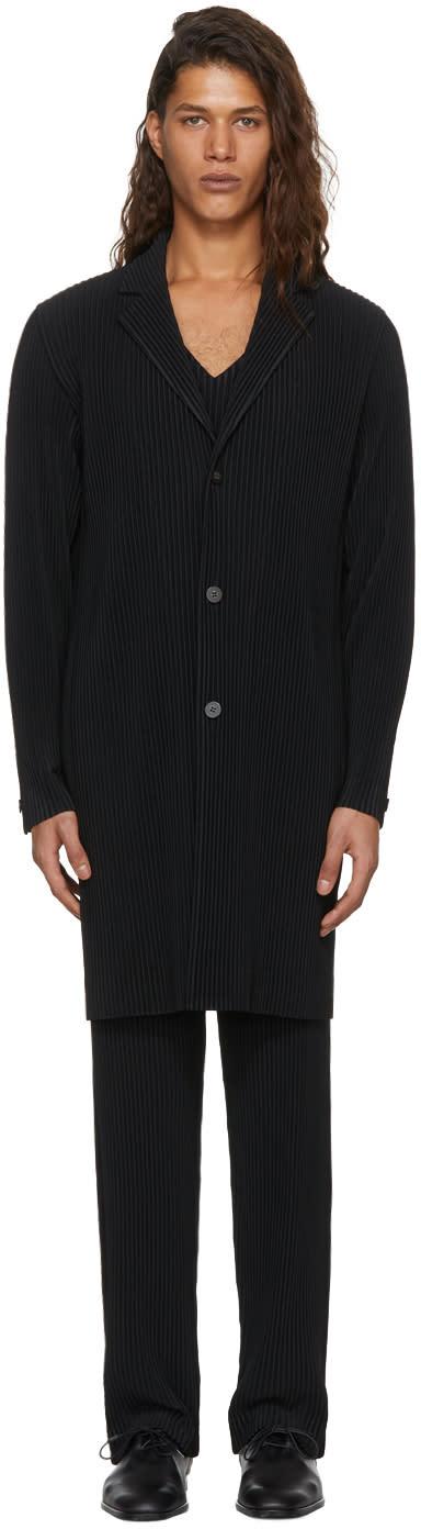 Image of Homme Plissé Issey Miyake Black Pleated Single-breasted Coat