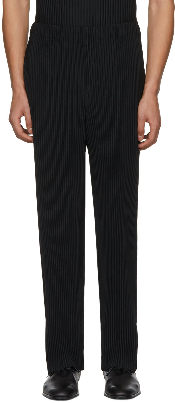 Image of Homme Plissé Issey Miyake Black Pleated Straight-leg Trousers