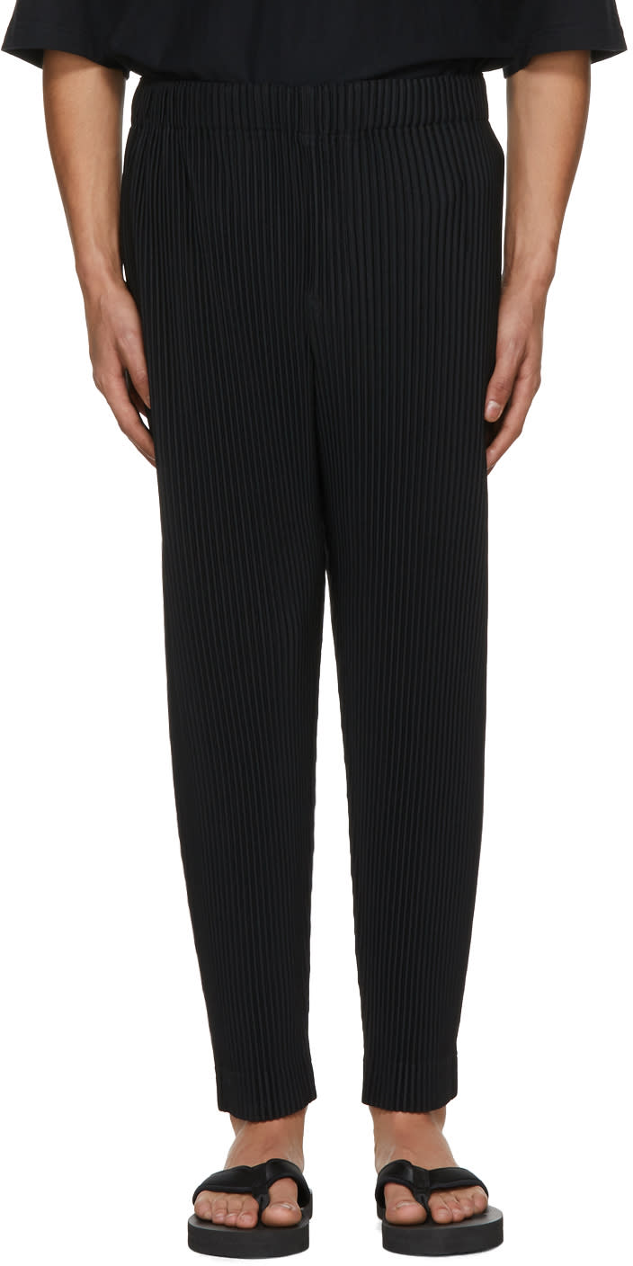 Image of Homme Plissé Issey Miyake Black Pleated Crop Trousers