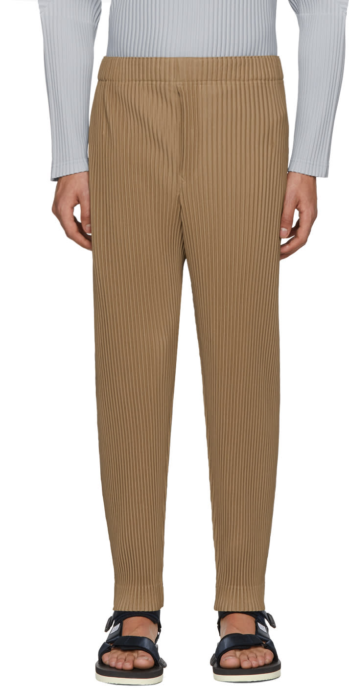 Image of Homme Plissé Issey Miyake Beige Pleated Crop Trousers