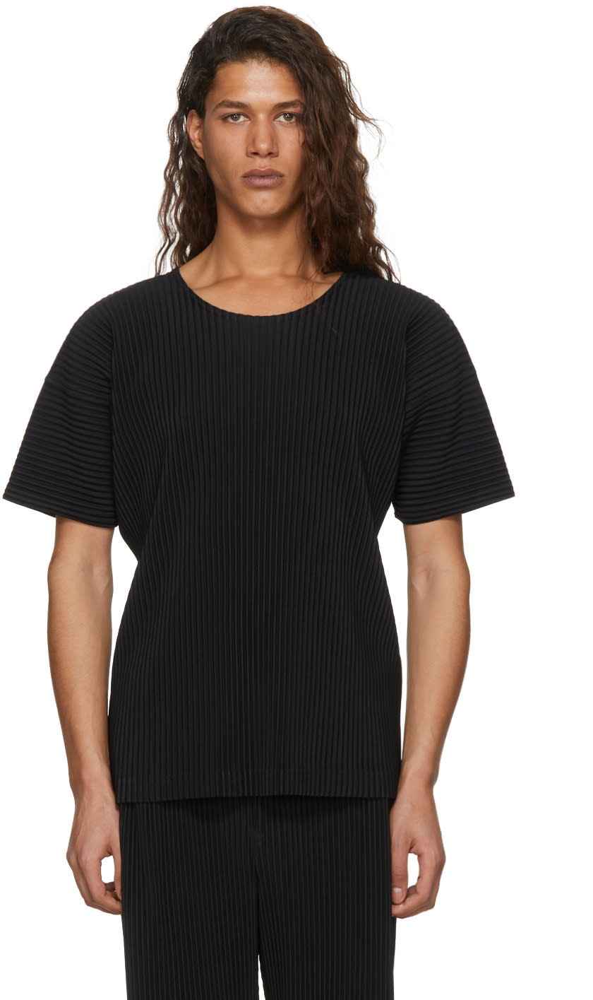 Image of Homme Plissé Issey Miyake Black Pleated T-shirt