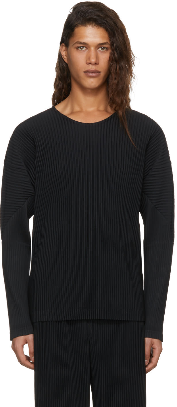 Image of Homme Plissé Issey Miyake Black Long Sleeve Pleated T-shirt