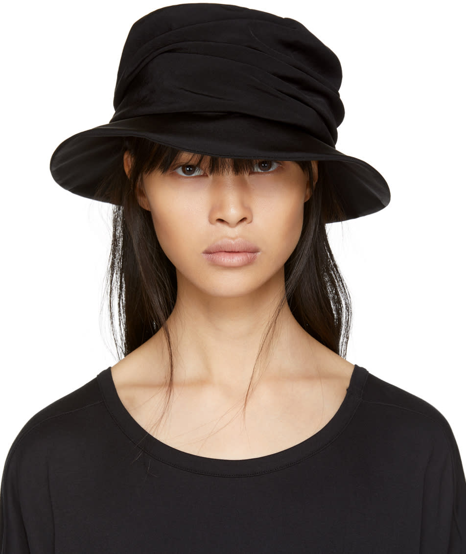 Image of Ys Black Drape Cloche Hat