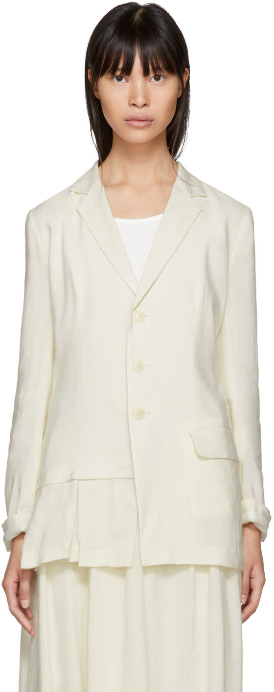 Ys White Soft Pleats Blazer