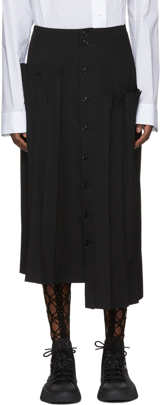 Image of Ys Black Asymmetric Pleated Skirt