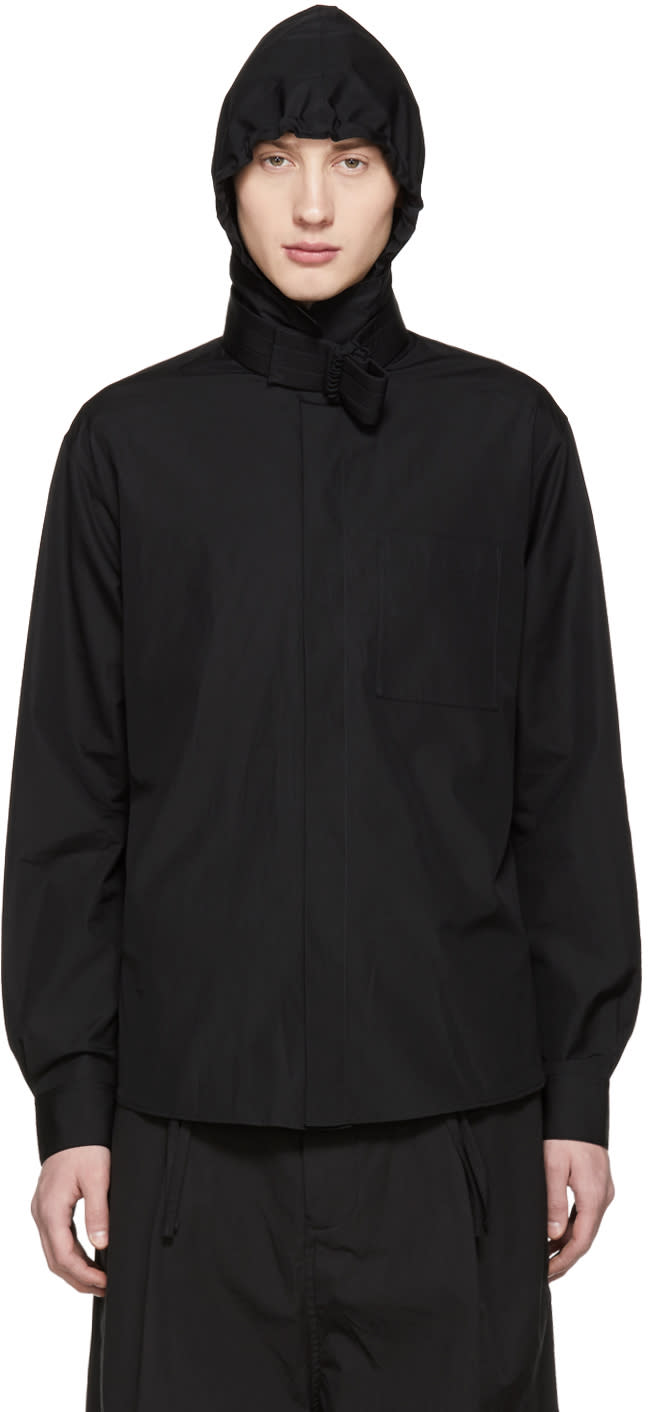 Image of Craig Green Black Hooded Shirt Jacket