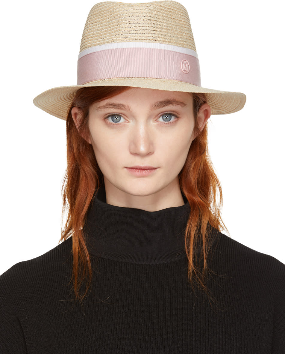 Image of Maison Michel Beige and Pink Straw Andre Trilby