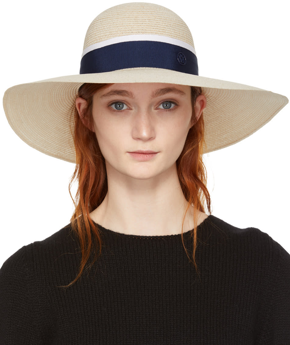 Image of Maison Michel Beige and Navy Straw Blanche Hat