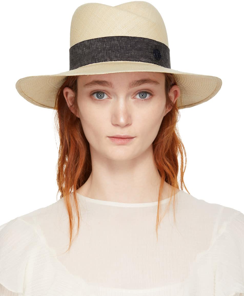 Image of Maison Michel Beige Straw Virginie Panama Hat