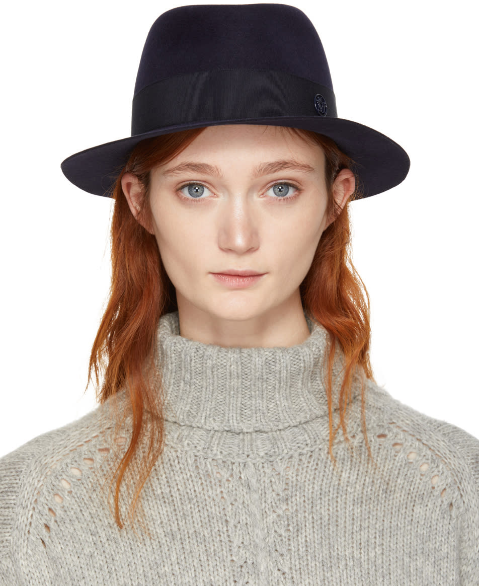 Image of Maison Michel Navy Felt Andre Trilby