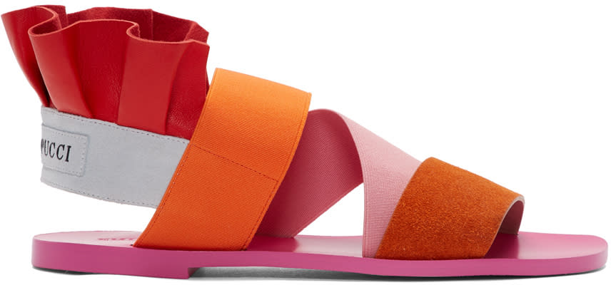 Emilio Pucci Pink and Orange Ruffle Sandles