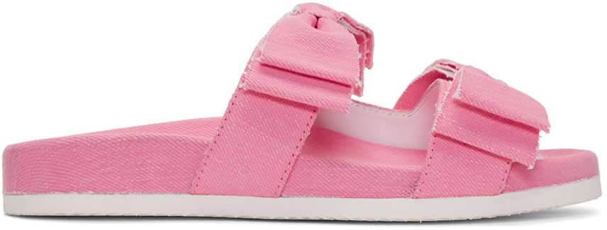 Joshua Sanders Pink Denim Double Bow Slides