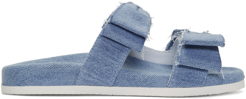 Joshua Sanders Blue Denim Double Bow Slides