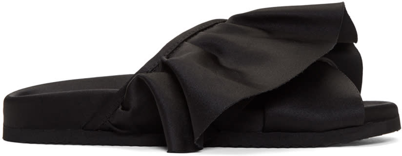 Joshua Sanders Black Ruffle Slides