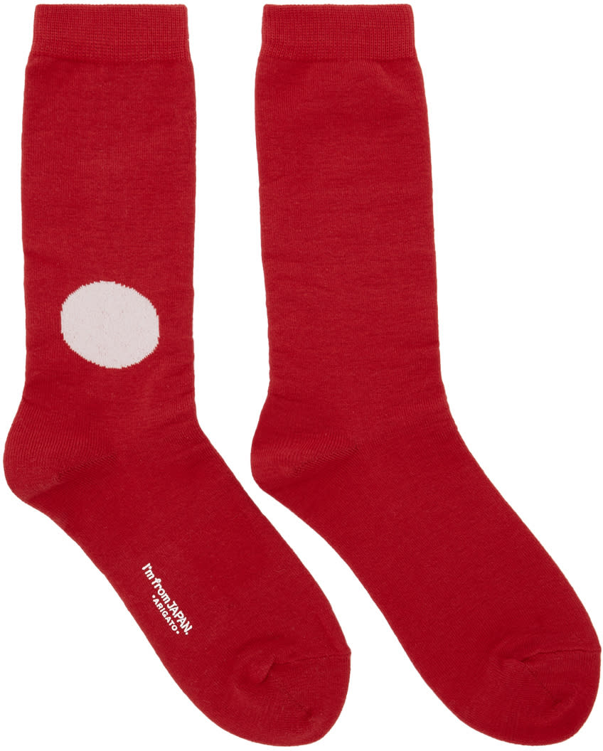 Blue Blue Japan Red and Off white Dot Socks
