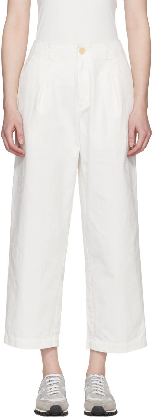 Blue Blue Japan Pantalon En Coton Blanc One Tuck Work