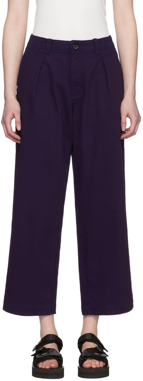 Blue Blue Japan Pantalon En Coton Indigo One Tuck Work