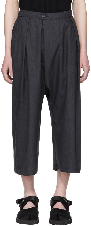 Blue Blue Japan Pantalon à Jambe Ample Bleu Marine Chill Wool Gabardine