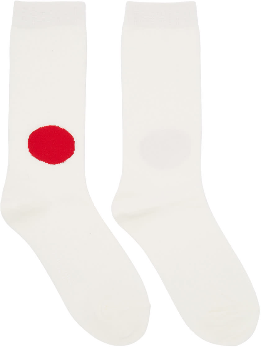 Blue Blue Japan Off white and Red Dot Socks