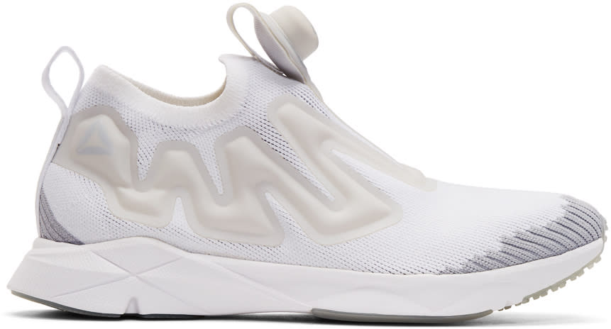 Reebok Classics White and Grey Pump Supreme Ultraknit Sneakers