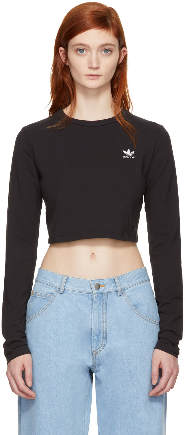 Image of Adidas Originals Black Cropped Styling Complements T-shirt
