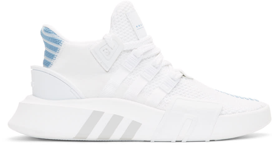 top fashion 0dee8 fe328 Adidas Originals White and Blue Eqt Bask Adv Sneakers