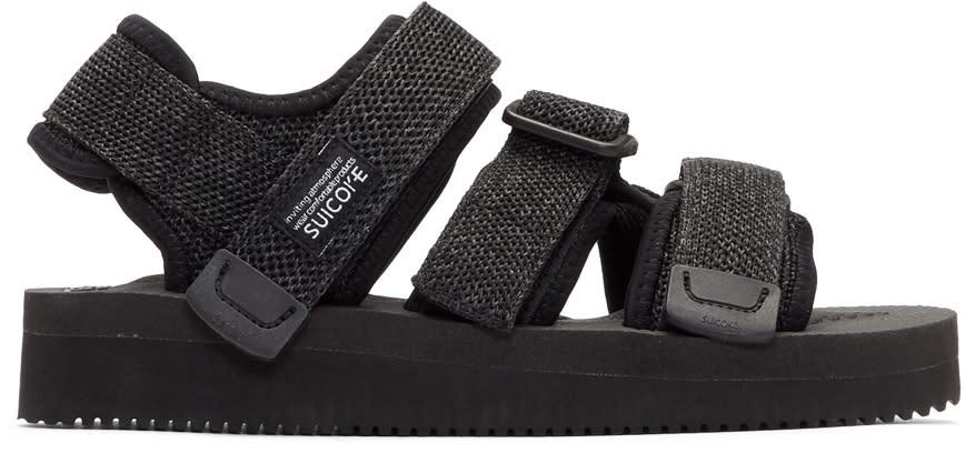 Suicoke Black and Grey Kisee-v Sandals