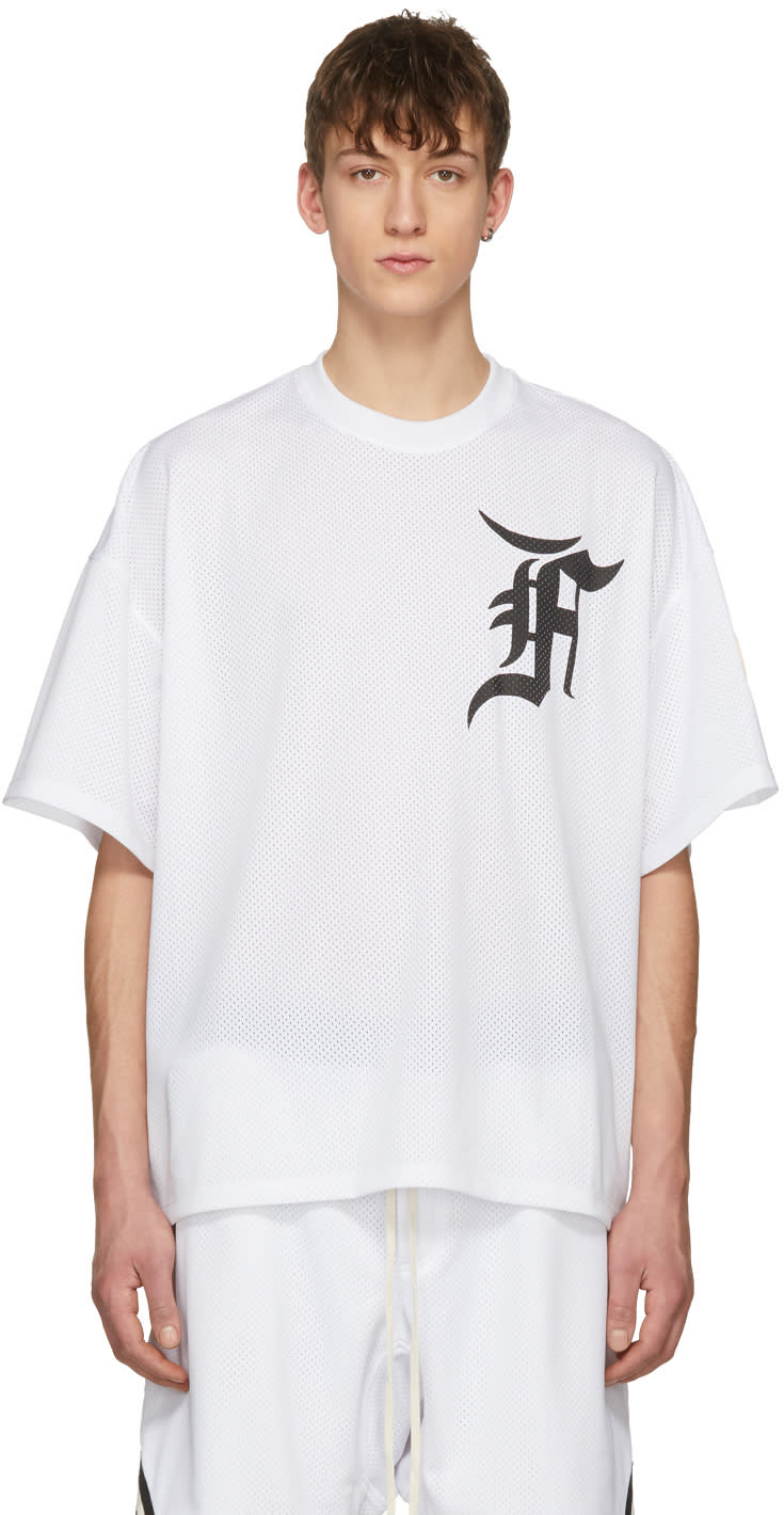 8d9bc1ae2 Fear Of God Ssense Exclusive White Mesh Batting Practice Jersey T shirt