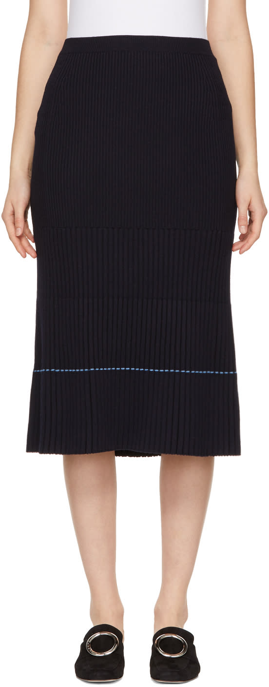 Victoria Beckham Navy Ribbed Skirt