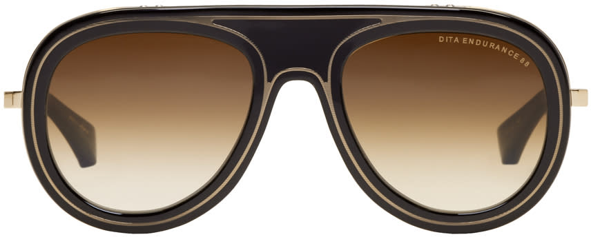 Image of Dita Black and Gold Endurance 88 Crystal Sunglasses