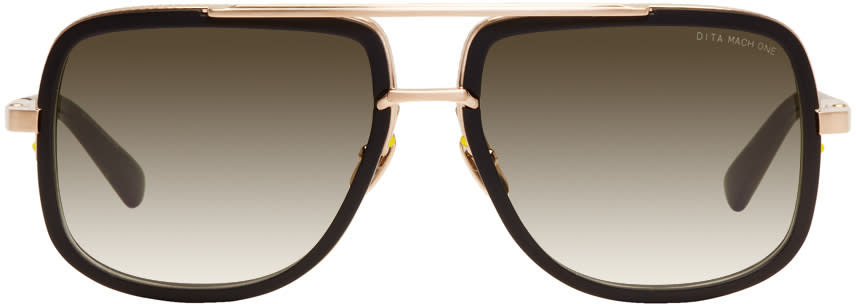 Image of Dita Black and Gold Mach One Sunglasses