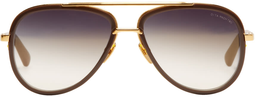 Image of Dita Grey and Gold Mach Two Stone Sunglasses