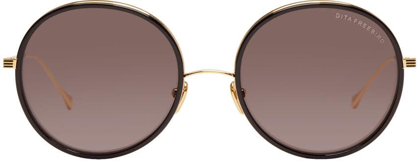 Image of Dita Black and Gold Freebird Sunglasses