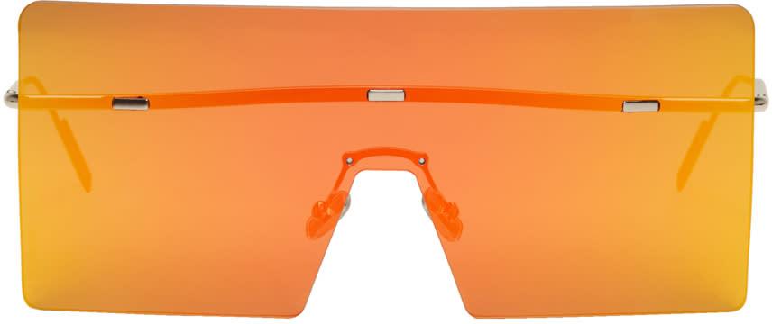 Image of Dior Silver and Orange Hardior Shield Sunglasses