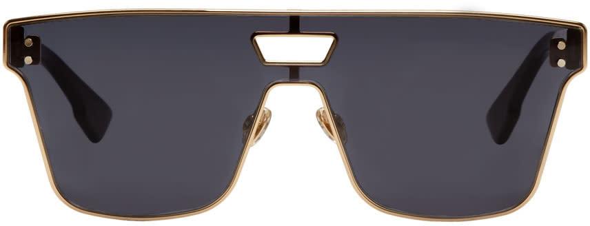 Image of Dior Gold and Burgundy Diorizon 1 Sunglasses