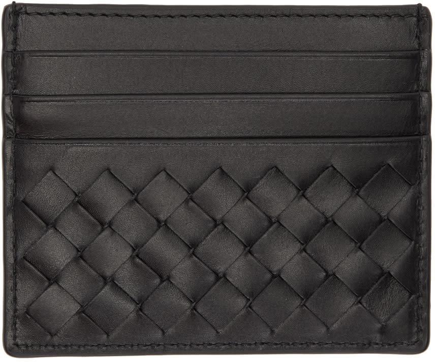 Image of Bottega Veneta Black Intrecciato Card Holder